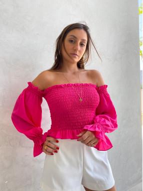 Blusa Beatriz Lastex Rosa Pink