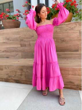 Vestido Marina Lastex Rosa