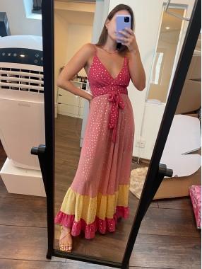 Vestido Esmeralda Rosa com Amarelo